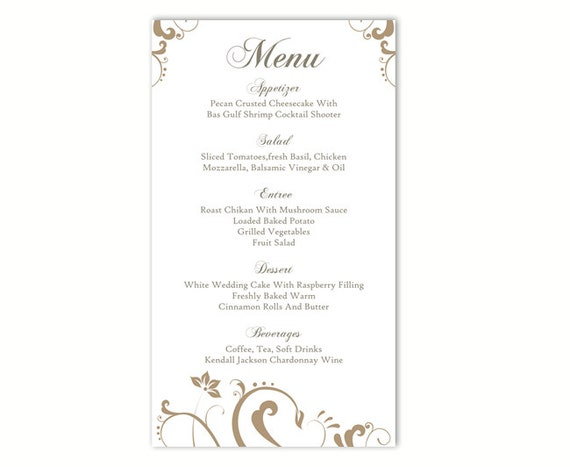 wedding menu template diy menu card template editable text. Black Bedroom Furniture Sets. Home Design Ideas