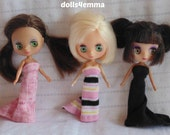 DOLL CLOTHES 3 Gowns handmade for Littlest Pet Shop BLYTHE Petite Lot #3