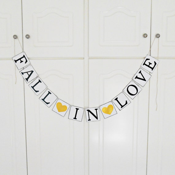 FREE SHIPPING, Fall in Love banner, Bridal shower banner, Wedding banner, Engagement party decoration, Wedding sign, Bachelorette party,Gold