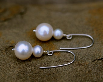 dual white pearl earrings, simple white pearl dangle earrings