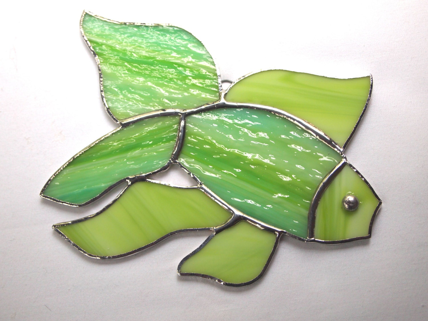 Stained glass fish suncatcher by glassofdistinction on etsy for Stained glass fish