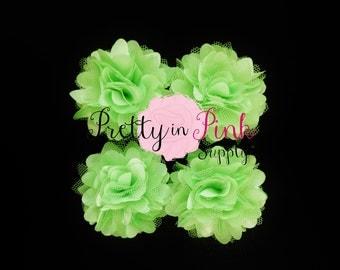 Lime Green Satin Mesh Flowers Set of 4...Mini Satin Mesh Flowers...Satin Flowers..Tulle Flowers...Silk Flower