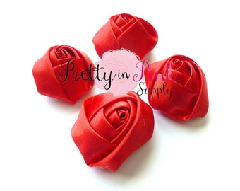 "Red Satin Rolled Rosettes Lot of 4...Rolled Rosettes...Mini Rolled Rosettes...1.5"" Rosettes"