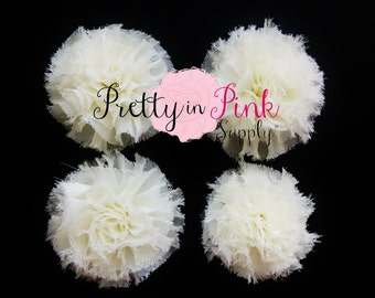 Ivory Mini Shabby Puffs...You Choose Quantity...Shabby Flowers...Mini Shabby Rosettes...DIY Headband supplies