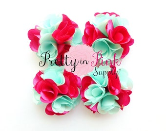 Aqua and Pink Satin Flowers Set of 4...Mini Satin Flowers...Satin Flowers..Headband Flowers...Silk Flower