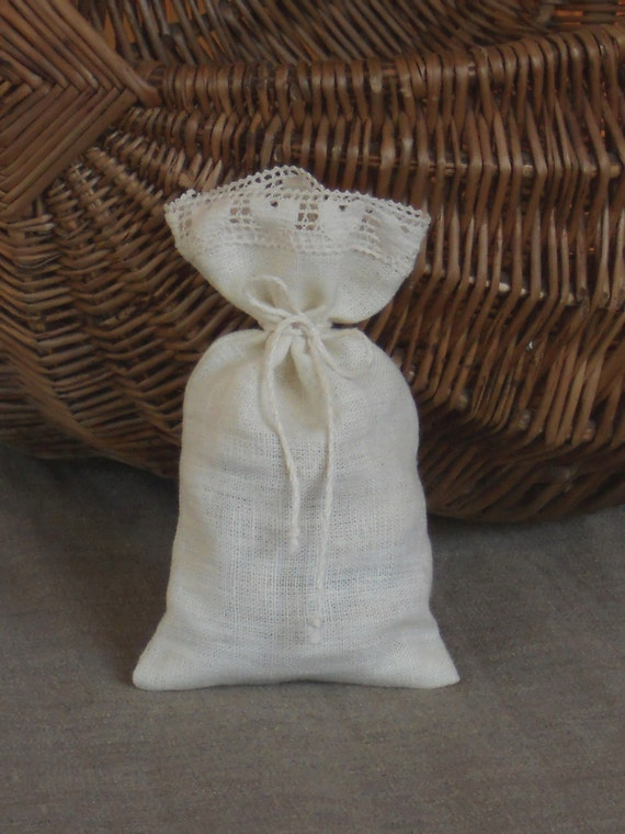 Wedding Favor Bags Lace : Linen favor bags with ivory heart lace wedding gift bags bridal favor ...