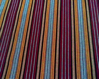 Multicolor stripe fabric( maroon, yellow, red, white, black), handwoven fabric, crafting fabric, durable fabric, sold per yard