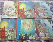 Vintage Christmas Cards Set of 6  UNSIGNED Religious Theme Art Guild of Williamsburg