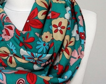 Colorful Flowers Infinity scarf, Circle Scarf, Tube Scarf, Spring Fall Winter - Summer fashion