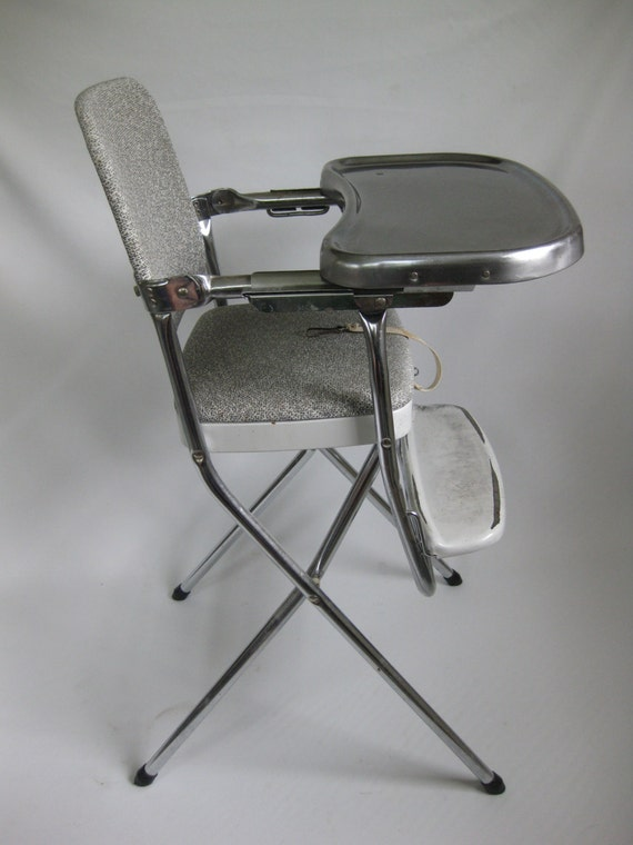Vintage Childs Folding High Chair Metal W Vinyl By
