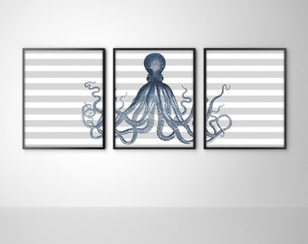 Nautical Striped Octopus Set of 3 Art Prints - Sea Life Bathroom Art - Navy with Gray Stripes - Octopus Home Decor - SKU: 116-S