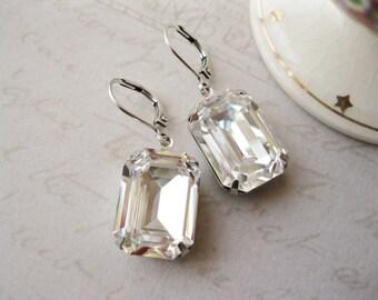 Large Crystal Rhinestone Statement Earrings Wedding Bridal Jewellery Classic Drop Earrings Bridesmaid Gift New Years Eve Lever backs