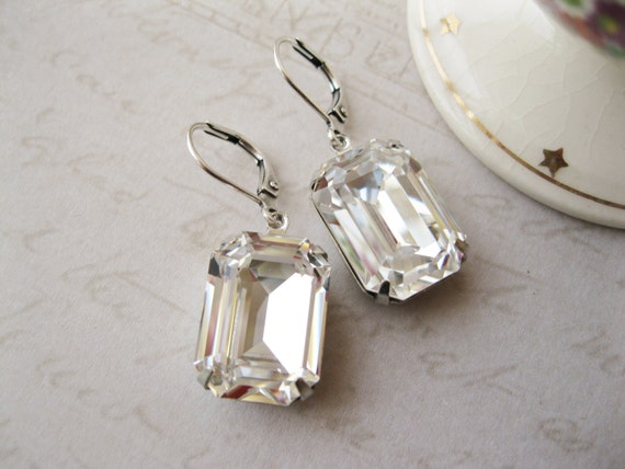 Large Crystal Rhinestone Statement Earrings Wedding Bridal Jewellery Classic Drop Earrings Bridesmaid Gift New Years Eve Lever backs