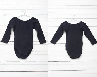 Vintage Black Basic Long Sleeve Bodysuit Onepiece Full Bottom / Womens Size M / Girls Dance Outfit / Festival Fashion Clothing
