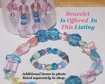 Glass Bead Bracelet in Pastel Pink, Blue, Green & Clear