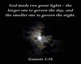 Moonlight1, Genesis 1 verse 16, 8 X 10 Instant Digital Download