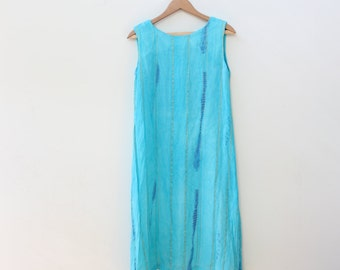 Turquoise Chiffon Sari Shift Dress
