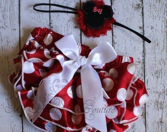 Red Polka Dot Bloomer & Minnie Headband Set- 1st Birthday Outfit- Baby Girl Outfit- Newborn Outfit- Cake Smash Outfit- Red Polka Dot