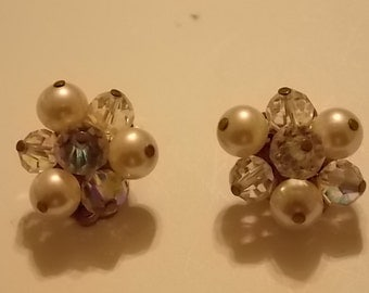 Vintage Faux Pearl and Rhinestone Clip On Earrings