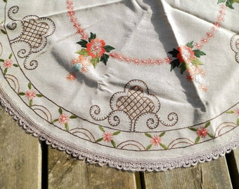 Vintage Danish Linen and Cotton Embroidered Round Table Cloth / Scandinavian Decor / Nordic / Hand Made / Embroidery/ Flowers/ European Home