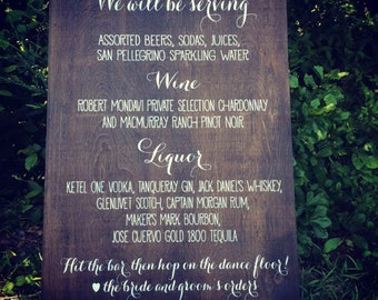 "Drinks and Liquors Menu, Large Wooden WEDDING MENU Sign - Drinks Menu (24"" x 36"") WM-3"