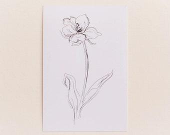 Any 1 Botanical Black and White Flower Print