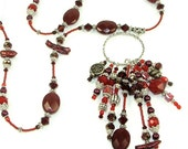 MAJOR MARKDOWN - Garnet and Ruby Red 10 Tasseled Hoop Center Piece on Fully Beaded Statement Necklace