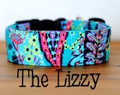 "Bright Modern Girly Turquoise & Pink Dog Collar ""The Lizzy"""