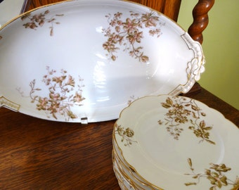 Antique Limoges China - Dessert Set - Ice Cream Set - Bawo and Dotter - 1880's - Platter with 8 Plates - Aesthetic Movement