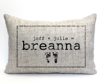 "baby gift, baby pillow, baby shower gift, child's name pillow, personalized pillow, birthday pillow, christmas gift - ""The Breanna"""