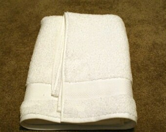 Personalized White bath towel with bride & groom
