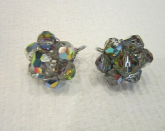 60's Signed Laguna Aurora Borealis Crystal Earrings Sparkles