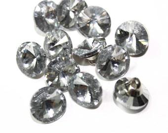 15 Round Shape Rhinestone Diamond Buttons - for bridal, fashion, or costume decoration