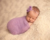 Set: Lilac Stretch Knit Wrap and Floral Shabby Headband, newborn baby layer photography prop