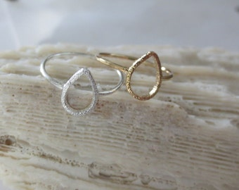 Gold teardrop ring, silver teardrop ring, teardrop midi ring, teardrop knuckle ring, teardrop mid ring
