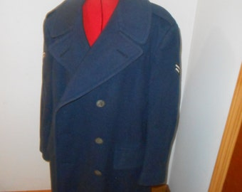 Vintage Blue Wool 41S United States Air Force Long Jacket Pea Coat 100% Wool , Capici Coat Shop, Inc.