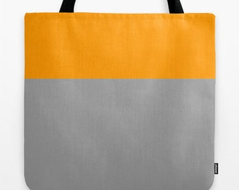 Large Canvas Tote Bag, Color Block Bag, Orange and Gray Tote, 18x18 inch tote