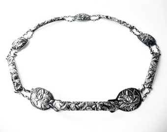 Beautiful Chinese Export Sung Repousse Floral Silver Belt With Lotus Flowers