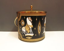Ice Ice Baby. Vintage Art Deco Erte Style Black Gold White Decorative Arabian Horse Illustration Ice Bucket. Handle