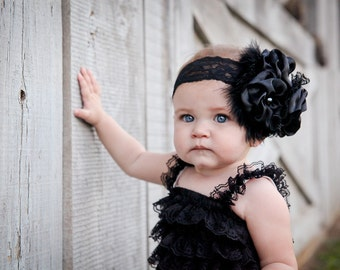 Vintage black lace romper with matching satin headband. Size 0-3mo 6mo-2t 2t-4t photo prop birthday pageant vintage look