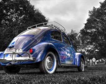 Old Volkswagen Beetle Photo, HDR photograph, Blue, red, and green, fine photography prints, The People's Car