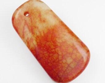 Blood Jade Pendant Bead - 46x25x8mm