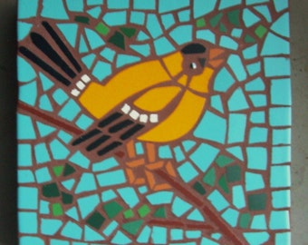 """Made to order, Exterior tile mosaic garden stone, """"Male American Goldfinch"""", 12"""" square, exterior tile, bird"""