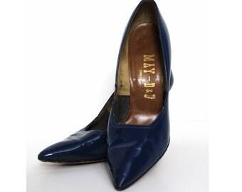 Vintage 1950s Heels Blue Spike Pumps Stilluetos Pinup Bombshell Dress Garden Party Rockabilly Mad Men Blue Heels