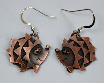 Hedgehog Drop Earrings in Copper Finish