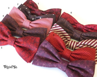 Mismatch Bow Ties, Cranberry Wedding Bow Ties Red Wedding Bow Tie Mix And Match Coordinating Wedding Bow Ties Plum Wedding Bow TIes