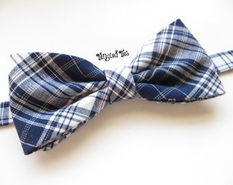 Navy Plaid Cotton Bow Tie, Clip-On or Pre-tied With Adjustable Strap; All Sizes