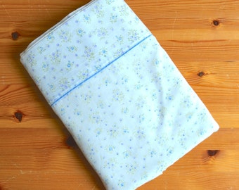 Vintage Blue Floral Sheet, Double Sheet, Shabby Chic Bedding