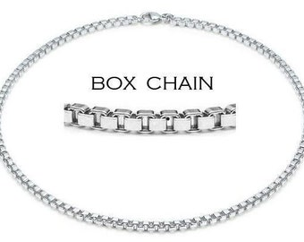 "5pcs 20"" 4mm Silver Plated Box Chain Necklace Wholesale"