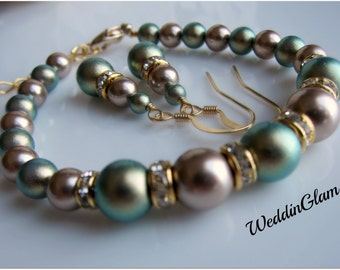 Weddings, Jewelry, Bridesmaid Green champagne brown Jewelry Set. Swarovski Gold Pearl Wedding Jewelry, Iridescent green pearl bracelet